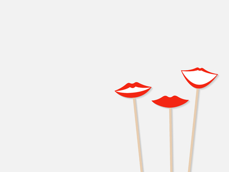 Photo booth props female lips, isolated on grey background. Vector Çizim