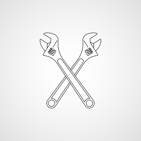 Crossed adjustable wrenches. Vector icon Çizim