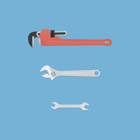 Set of wrenches. Vector in flat style