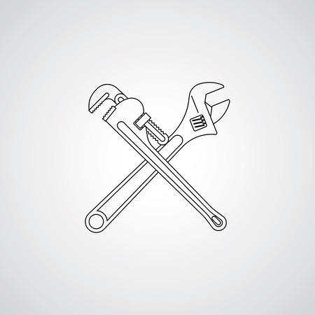 Pipe adjustable wrenches icon. Vector Çizim
