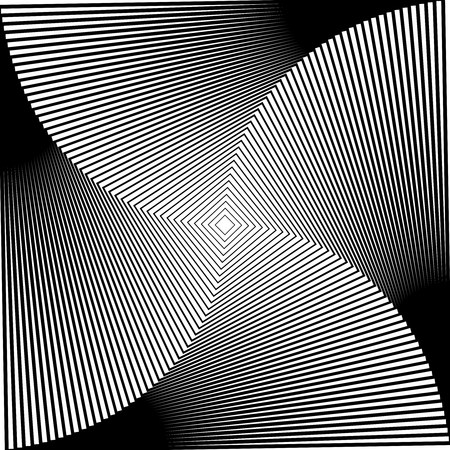 Gradient spiral background. Black and white squares. Vector Illustration