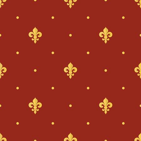 Seamless vintage gold pattern with Fleur-de-lis. Vector Vector Illustration