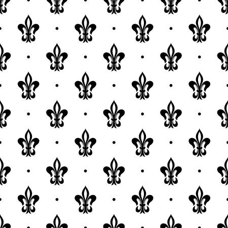 Lily flower (fleur-de-lis) seamless pattern. Vector