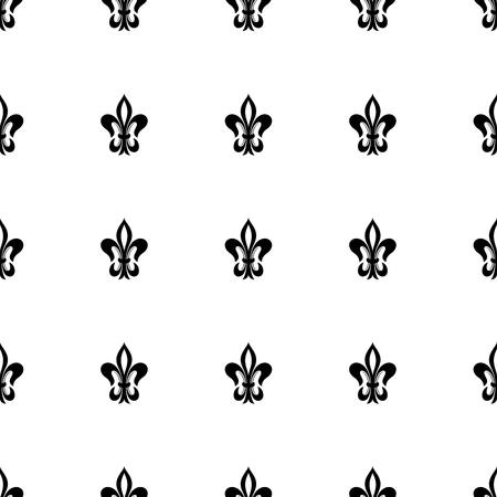 Lily flower (fleur-de-lis) seamless pattern. Vector background