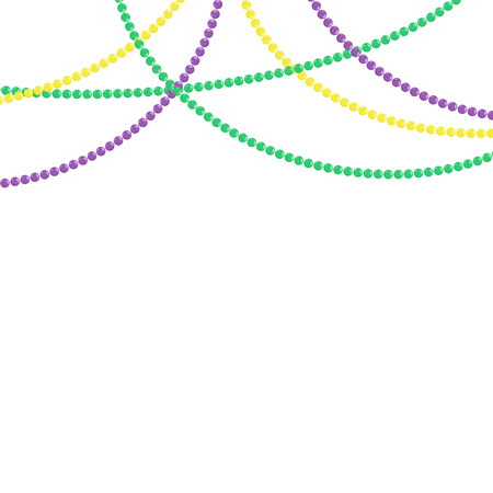 Mardi gras beads isolated on white background. Set for greeting card. Vector illustration
