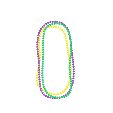 Mardi gras beads isolated on white background. Vector illustration