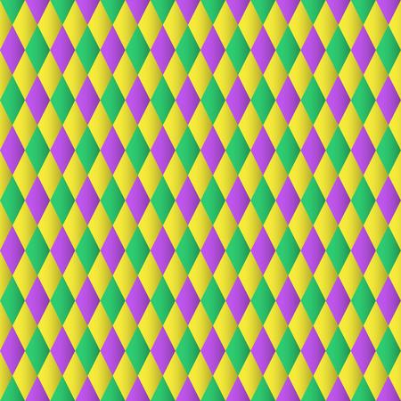 Mardi gras diamond seamless pattern. Vector Background Çizim