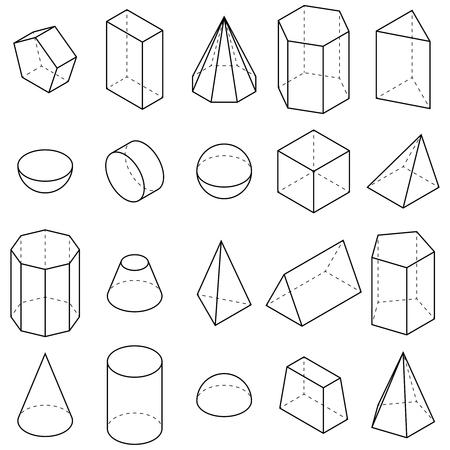 Zestaw geometrycznych kształtów. Widoki izometryczne. Ilustracja wektorowa