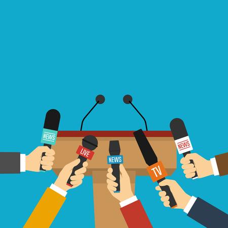 Tribuna, tribuna y manos de periodistas con micrófonos. Concepto de conferencia de prensa. Ilustración de vector de estilo plano Ilustración de vector