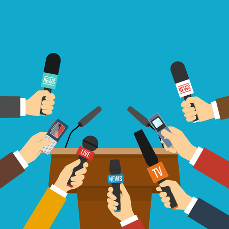 Rostrum, tribune and hands of journalists with microphones. Press conference concept. Vector illustration in flat style