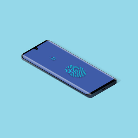 Smartphone with fingerprint on screen in isometric. Vector illustration