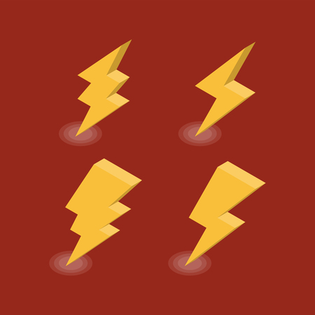 Lightning isometric icons set. Vector illustration