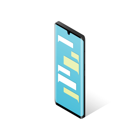 Messenger concept. Smartphone with blank messaging bubbles. Isometric vector illustration Çizim