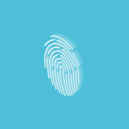 Touch ID fingerprint isometric icon. Vector illustration Çizim