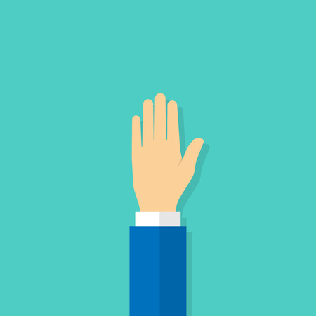 Raised hand with open palm facing. Vector illustration in flat style