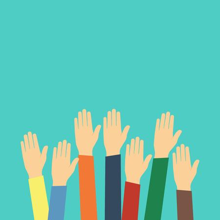 Handen omhoog. Platte ontwerpstijl. vector illustratie