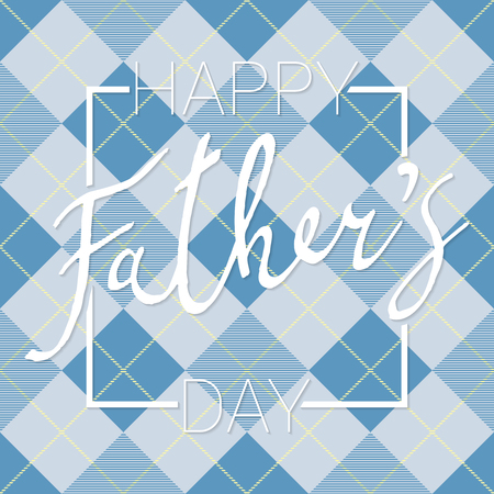 Happy Fathers Day calligraphy banner on checkered diagonal background. Vector Çizim
