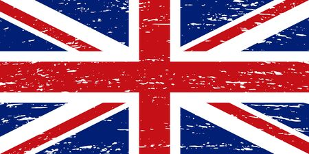 Flag of the United Kingdom grunge style. The correct proportions and colors. Vector Çizim