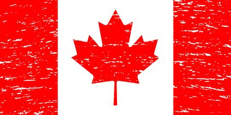 Canada flag. The correct proportions and color. Grunge style. Vector image