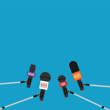 Microphones on long stick performing interview. Vector illustration in flat style