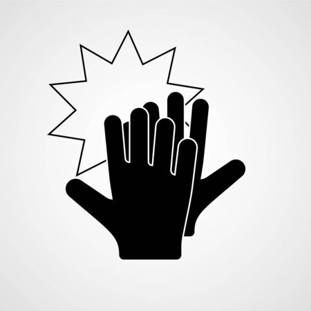 High five. Hands celebrating with a high-five. Vector icon Çizim