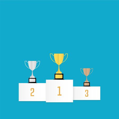 Winners cups on podium vector illustration in flat design style Çizim