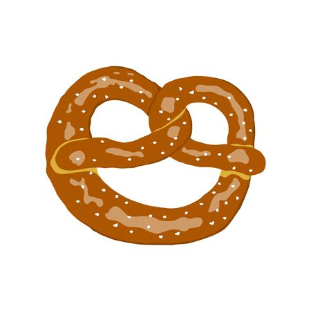 Pretzel illustration in flat design style. Vector