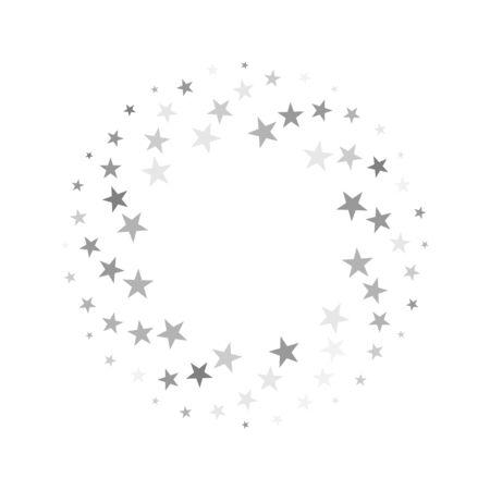 Spiral frame of silver stars on white background. Vector