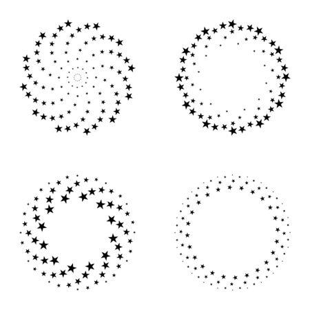 Twisted spiral set design elements, star shapes. Vector illustration