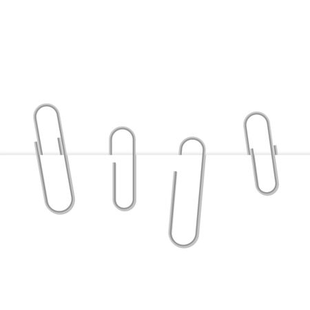 Metal paper clips attached to paper. Vector illustration Illustration