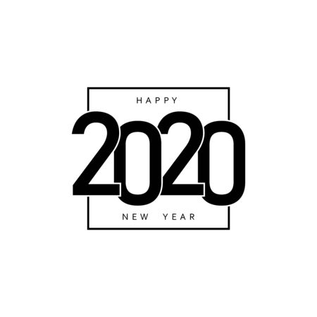 Happy New Year 2020 greeting card template. Vector illustration