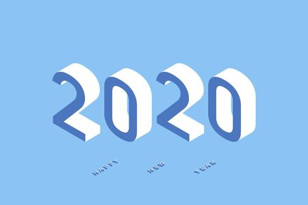 2020 Isometric illustration of Happy New Year. Vector backgrond