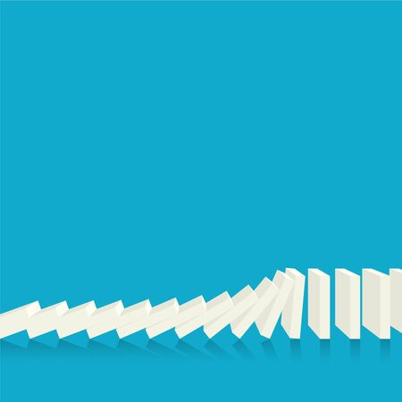 Falling dominoes on a blue background. Vector in flat style