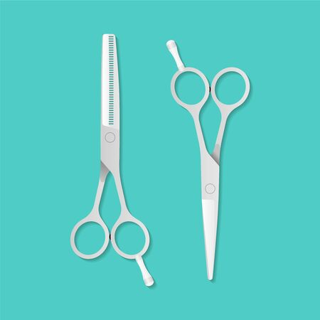 Hairdressers professional scissors illustration in flat style. Vector