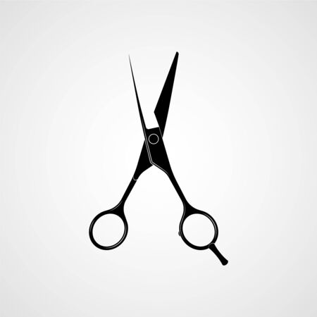 Silhouette noire de ciseaux professionnels de coiffeurs. Vecteur Vecteurs