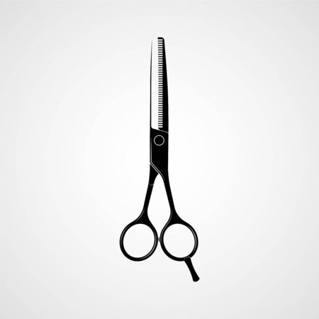 Hairdressers professional scissors black silhouette. Vector Vettoriali
