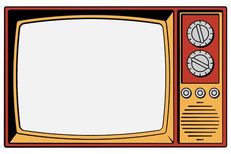 Vintage TV on a white background with isolated screen. Vector Illusztráció