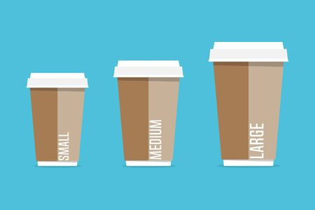 Paper coffee cups different size in flat style. Vector illustration