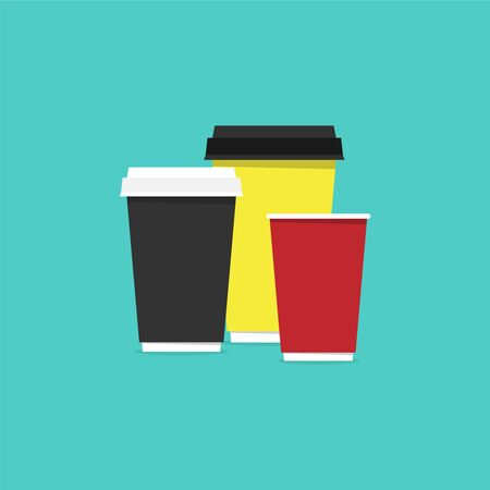 Paper cups for cold and hot drinks, as well as for vending machines. Vector illustration in a flat style Illusztráció