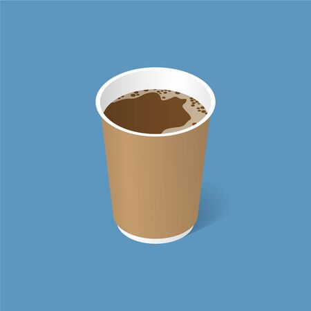 Paper glass with coffee. Isometric illustration with a shadow. Fast food. Vector illustration.