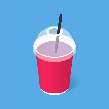 Disposable paper cup with straw. Isometric illustration with a shadow. Fast food. Vector illustration