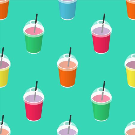 Disposable paper cup with straw seamless pattern. Isometric illustration. Fast food. Vector background