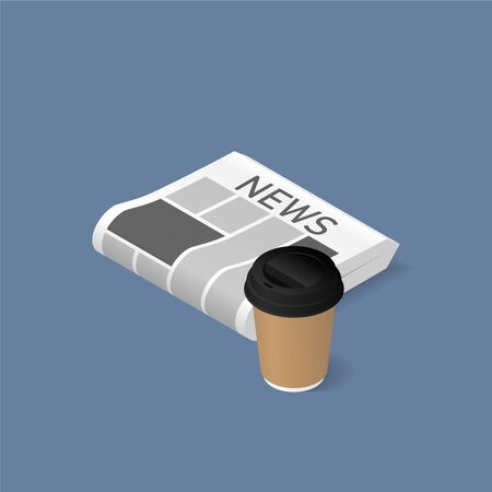 Morning newspaper with coffee cup isometric illustration. Vector blank newspaper