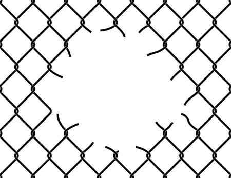 Mesh netting torn. Hole in the center of mesh fence. Vector background