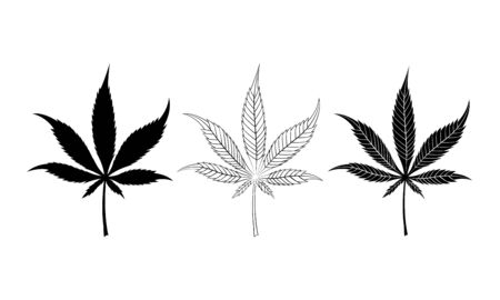 Cannabis leaves black silhouette set isolated on white background. Vector