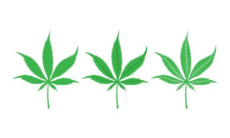 Green cannabis leaves set isolated on white background. Vector Vettoriali