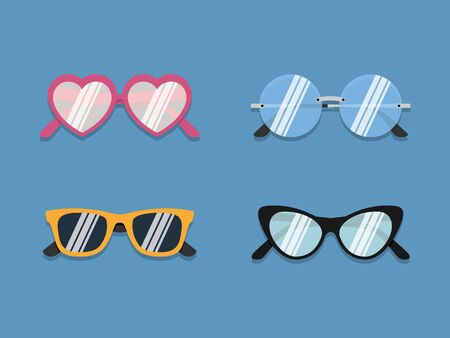 Glasses icons set. Vector illustration in flat style Vettoriali