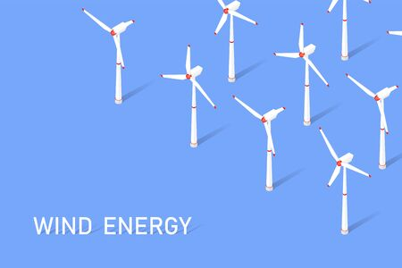 Wind energy. Isometric clean energy concept. Wind turbines. Vector illustration