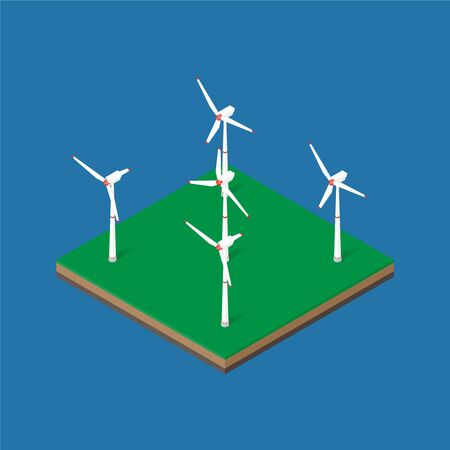 Wind energy park. Wind power station. Vector isometric illustration