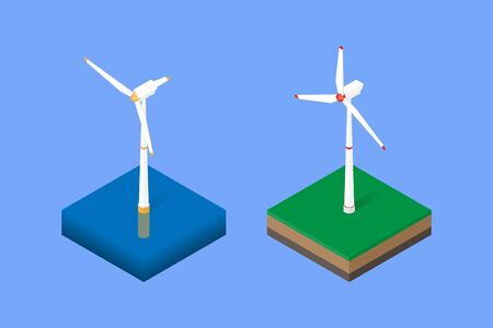 Wind turbine onshore and offshore. Vector isometric illustration Vettoriali